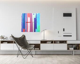 Modern Art Print, Stretched Canvas, Modern Art, Giclee Print, Wall Art, Free Shipping,  Printable Art, Abstract Art, Urban Summer 2R