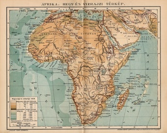 Antique relief map of Africa from 1893