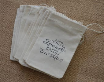 Favor Bags Wedding Favors Muslin Favor Bags Gift Bags or Candy Bags  SET of 10