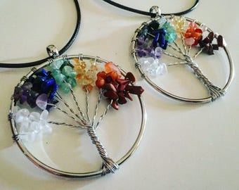 tree of life necklace, womens necklace, chakra healing, chakra jewellery, chakra choker, tree of wisdom necklace, 7 stone chakra, chakras