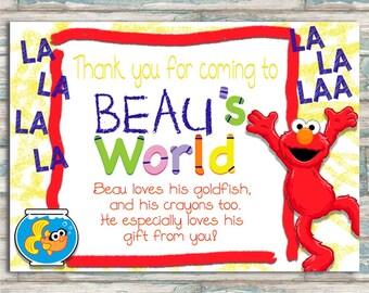 Elmo's World Thank You Card - Elmo Birthday - Sesame Street - Customized Printable