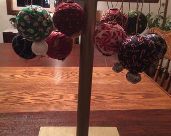 "2"" rag ball holiday ornaments"