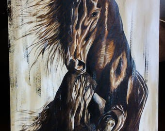 Horse painting is acrylic, original artwork