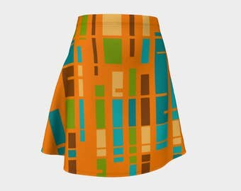 Skirt, Gift,  Orange, For Her, Wife Gift, Womens Skirt, Gift, Retro, Geometric, A-Line Skirt, Womens Gift, Unique, Gift for Women, Turquoise