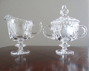 Vintage Cut Glass Sugar and Creamer Set