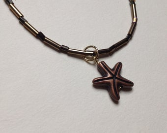 Beachy Bohemian Bronze Starfish Necklace