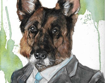 Custom Dog Portrait-Dogs in Clothes-Animals in Clothes-Fashion Illustration-Dog Painting