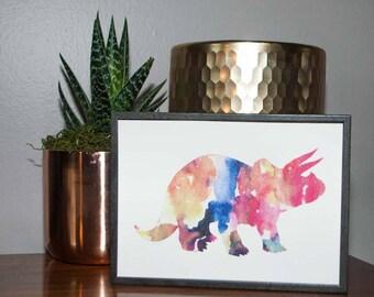 Watercolor Triceratops Print