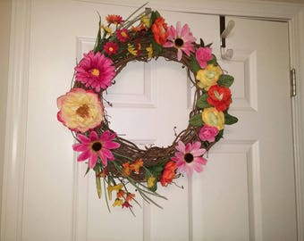 Summer Silk Flower Door Wreath