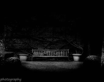The humble bench, in black and white, a place to take the weight off
