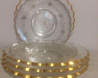 Vintage 1960's gold rim appetizer plates with floral etched detail.