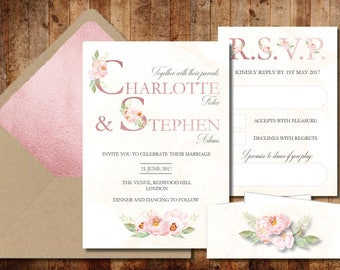 Floral Letters Wedding Invitations