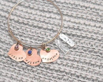 Personalized hand-stamped bangle bracelet with names and birthstones