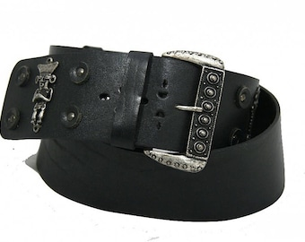 Wide black leather belt with authentic mexican decor