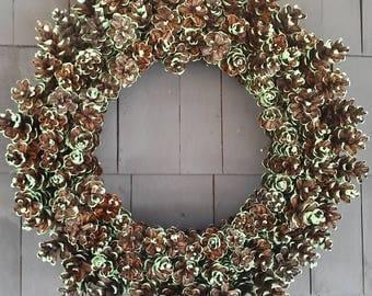 Pinecone Wreath Four Leaf Clover Green / Home Decor