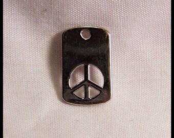 Peace Sign Charm Pendant Bracelet Neckalce Zipper Pull New Old Stock Shiny Chrome