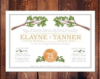 Watercolor Nature Wedding Invitation, Customizable, Envelopes Included (lds temple wedding, adjustable)