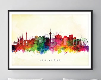 Las Vegas Skyline, Las Vegas Nevada Cityscape Art Print, Wall Art, Watercolor, Watercolour Art Decor [SWLAS04]
