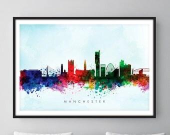 Manchester Skyline, Manchester England Cityscape England, Art Print, Wall Art, Watercolor, Watercolour Art Decor [SWMAN03]
