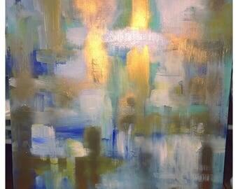 30x40 acrylic canvas painting blue gold metallic