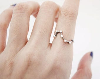 Delicate Big Dipper Ring, Star sign Ring, Seven Stars Ring , Sterling silver star ring, Constellation Ring