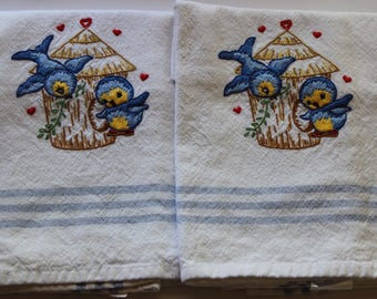 Hand Embroidered Tea Towels - Embroidered Tea Towels - Set of 2 - Adorable Birds