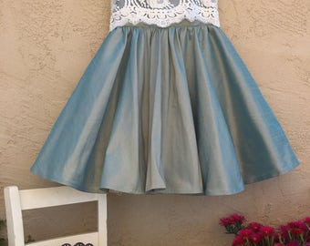 "Teal""Grace"" dress dupion silk"