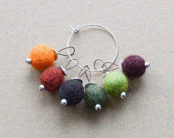 Earth-Tone Snag-Free Felted-Wool Stitch Markers - Fits up to 4.0 mm (8 U.S.)