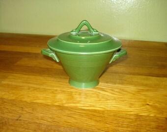 Homer Laughlin Harlequin Forest Green Sugar Bowl and Lid