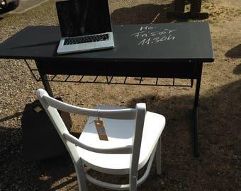 Schultisch laptop table desk wood black metal shabby vintage old