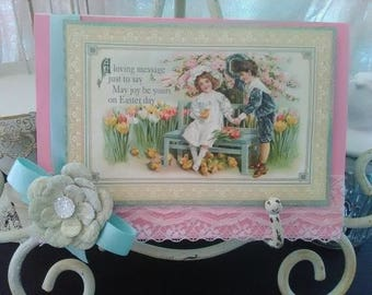 Shabby chic Easter greetind card