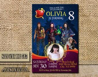 Disney Descendants Invitation / Disney Descendants Birthday / Disney Descendants Birthday Invitation / Disney Descendants Party / S078