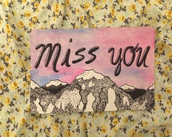Watercolor/pen&ink Miss You postcard
