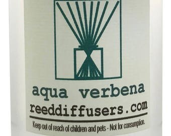 8 oz  Aqua Verbena Fragrance Reed Diffuser Oil Refill with reeds- Made in the USA