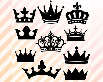 Crowns Svg, Crown dfx, Crown Clipart, silhouette Vector, Crown Cutfile, EPS cricut explore, silhouette cameo studio, Printable Crown PNG