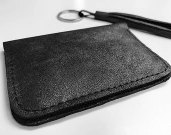 LEATHER CARD CASE - Bifold wallet, Leather card wallet, Leather card holder, Business card case, Metallic leather, Minimalist