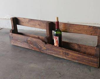 Rustic wall mounted wine bottle holder