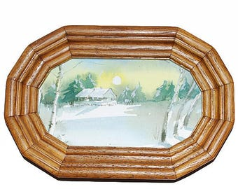 Hand Painted Watercolor Picture in a Wooden Frame.