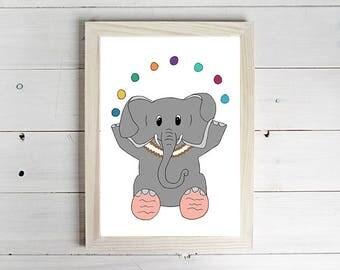 Juggling Elephant - Unframed Art Print, Elephant Drawing, Nursery Picture, Animal Wall Art, Children's Decor, Kid's Bedroom.