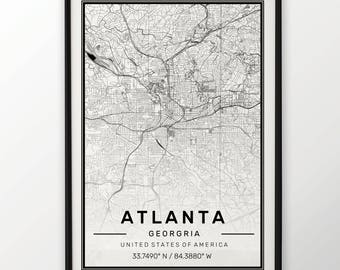 Atlanta City Map Print, Modern Contemporary poster in sizes 50x70 fit for Ikea frame All city available London, New york Paris Madrid Rome