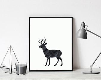 Marble Deer Art Printable, marble art download, modern printable art, modern wall art, modern wall decor, modern digital art
