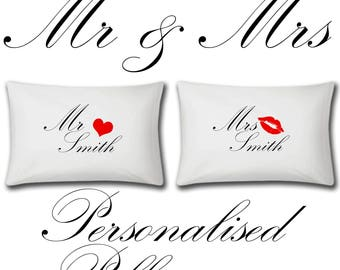 Mr And Mrs Personalised Pillow Cases - Wedding Gift - Bride - Groom - Custom - Personalized Pillowcase - SET OF 2