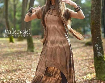 Elegant organic cotton dress/tunic in earth color