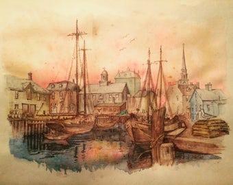 Ship Yard at Sunset Watercolor Painting Print