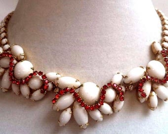 Stunning And Unusual Vintage Milk Glass And Red Rhinestone Necklace