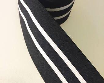 "2"" Plush Black and White striped Elastic Band"