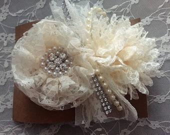 Beautiful Ivory Lace Shabby Rhinestones Pearls Headband