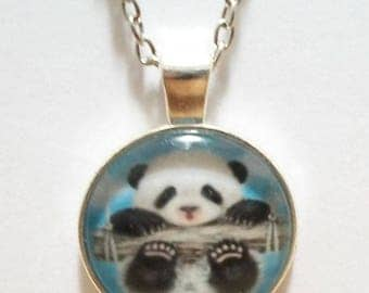 Baby Panda Bear Hang in There Glass Cabochon Pendant Necklace SC527