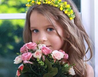 YELLOW GIRL HEADBAND Fruits Yellow girls headband, yellow flower girl headband, toddler headband, headband bridesmaid, yellow hair accessory