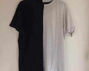 T-Shirt Long clothing half black/white